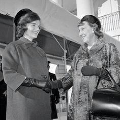 ~Jacqueline Kennedy shaking hands with former First Lady; Mamie Eisenhower ~