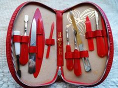 Vintage RED LEATHER Manicure Set- Made in Austria- 10 Nail Tools- Red Handles- Retro Red Leather Zippered Case- Rare Vanity Accessories