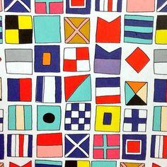 nautical sailor flag illustrations, ideas for pattern play! Surface Pattern, Pattern Art, Pattern Design, Print Design, Pretty Patterns, Color Patterns, Nautical Flags, Nautical Knots, Nautical Art