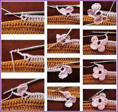 Ponto flor de crochê com passo a passo Crochet Bolero, Crochet Chain, Crochet Motifs, Crochet Lace, Crochet Waffle Stitch, Crochet Tablecloth Pattern, Crochet Stitches For Blankets, Knitting Patterns, Crochet Patterns