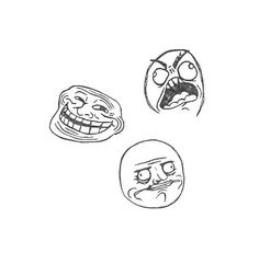 Rage Face Collection - Classic Rage, Troll Face and Me Gusta Hand Carved Stamps