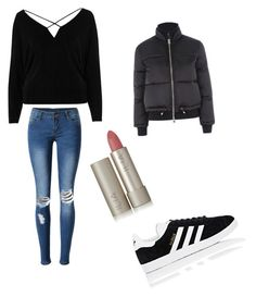 """puffer jacket contest"" by ewyatt95 ❤ liked on Polyvore featuring River Island, WithChic, Topshop, adidas and Ilia"