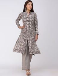 Buy Yellow Blue Block Printed & Shibori Satin Modal Kurta Women Kurtas Online at Jaypore.com