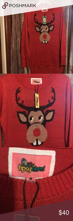 The Christmas Workshop Girls Reindeer Head Long Sleeve Jumper