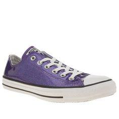 womens converse purple all star glitter ox trainers