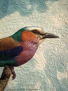 close up, Botswana's Beautiful Bird by Barbara McKie (Connecticut, USA).  Photo by Quilt Inspiration. Thread painted.