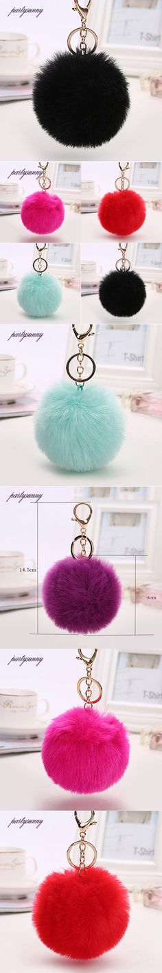 PF Pompom Keychain for Purse Fake Fur Keychains Fluffy Charm Trinket Rabbit Key Chains Pendant for Key Car Pompoms Jewelry YS049