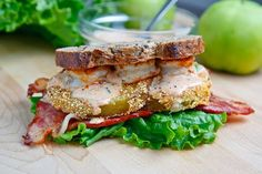 Fried Green Tomato BLT with Shrimp Remoulade - Shrimp, Bacon, Lettuce & Fried Green Tomato Sandwich on Wheatberry bread