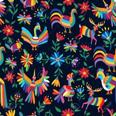 Illustration about Vibrant color seamless pattern with happy spring time illustrations of mexican art style animals and flowers nature elements. Illustration of mexico, colorful, block - 69739924 Folk Art Flowers, Flower Art, Flowers Nature, Mexican Home Decor, Mexican Folk Art, Norman Rockwell, Pattern Dots, Illustrations, Illustration Art