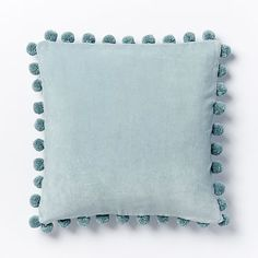 Jay Street Ashti Pom Pom Pillow Cover - Pale Harbor #westelm