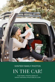 Fun family photos in the car! Such a cute idea! The Family Photo Blog