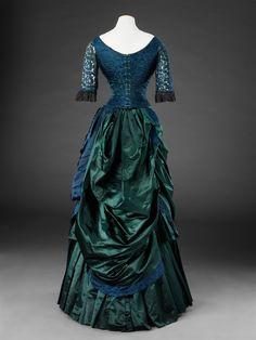 1dcd382651 Back view of blue   green silk satin evening or dinner dress w silk brocade  bodice