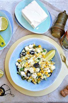 Sałatka z kaszy kuskus z kukurydzą, fetą i oliwkami Feta, Risotto, Salad, Cooking, Hummus, Recipes, Kitchen, Recipies, Salads