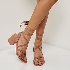 Pink soft tie heel sandals