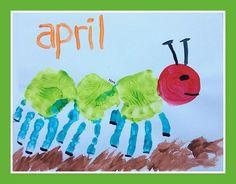 Our Handprint and Footprint Calendar - Andrea Dekker Toddler Calendar, Preschool Calendar, Kids Calendar, Calender Print, Calendar 2017, Baby Crafts, Toddler Crafts, Infant Crafts, Easter Crafts