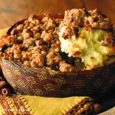 Gooseberry Patch Recipes: Ginger Streusel-Topped Cheesecake. {A Pinner said} This is an easy way to dress up a store bought cheesecake - topped with big chunks of crunchy gingersnap streusel. Scoop it warm from the oven into dessert bowls.