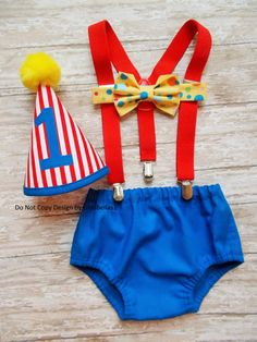 Circus Birthday cake smash carnival outfit baby by GinaBellas1