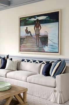 navy, beige, & gray color palette & artwork