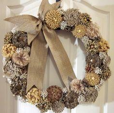 Shabby chic fabric flowers wreath- cream natural shade. $59.50, via Etsy.
