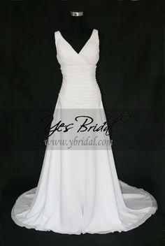 Empire V-neck Chapel Train Ruched Chiffon Wedding Dress WEM0012 $378.34 Empire Wedding Dresses