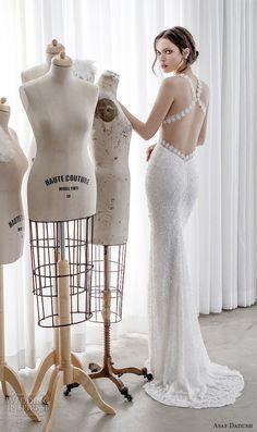 asaf dadush 2017 bridal sleeveless embroidered strap deep sweetheart neckline heavily embellished bodice sexy sheath wedding dress open strap back sweep train (15) bv