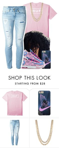 """""""🌸Huff t shirt🌸"""" by jchristina ❤ liked on Polyvore featuring interior, interiors, interior design, home, home decor, interior decorating, HUF, NIKE, Dondup and BaubleBar"""