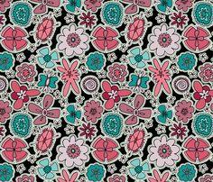 Flower Jamboree (Purple, Pink, Teal) fabric by brendazapotosky on Spoonflower - custom fabric