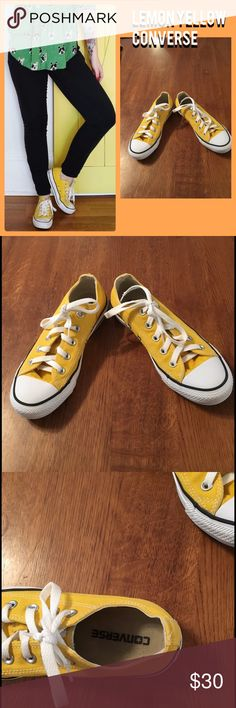 Lemon Yellow Chuck Taylor Converse What's there to say? Converse. Happy, sunny yellow. Like new. Size 6. Converse Shoes Athletic Shoes