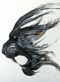 O escultor turco Selçuk Yılmaz  cria fantásticas esculturas em estilo de máscaras, utilizando ...