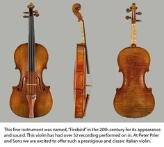 """""""Firebird""""by Antonio Stradivari.  One of the few violins named for its characteristics rather than original owner.  Notice the """"flames"""" on the back of the violin.  Elizabeth has held it and says as you move it from side to side the varnish changes colour between browns and oranges.  Because of the beautiful varnish and the beautiful flames, it is called """"Firebird"""""""