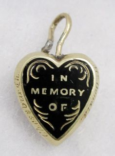 "9k Gold ""In Memory Of"" Antique Victorian Mourning Locket Pendant, $75.00"