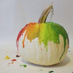 melted crayon pumpkin, crafts, halloween decorations, seasonal holiday decor, Melted Crayon Pumpkin