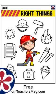 Fire Safety Crafts, Fire Safety For Kids, Fire Safety Week, Community Helpers Crafts, Community Helpers Worksheets, 4th Grade Reading Worksheets, English Worksheets For Kids, Book Activities, Preschool Activities