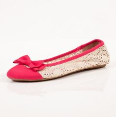 Crochet Bow Flats In Pink.