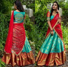 Saved by radha reddy garisa Lehenga Saree Design, Half Saree Lehenga, Lehnga Dress, Silk Lehenga, Lehenga Designs, Banarsi Saree, Lehenga Blouse, Kurta Designs, Indian Bridal Sarees