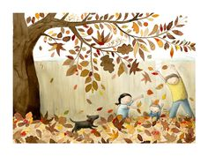 Anna Walker - Flutter To The Ground If I ever write a children's book the dream illustrator would be Anna Walker. The feeling she creates on a page is indelible. Autumn Illustration, Children's Book Illustration, Anna Walker, Great Works Of Art, Autumn Scenery, Autumn Crafts, Woodland Creatures, Science Art, Graphic
