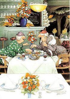 Wholesale Postcards of Inge Look, number 32 Colorful Drawings, Art Drawings, Old Lady Humor, Best Friends Forever, Pics Art, Held, Whimsical Art, Old Women, Watercolor Art