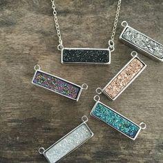 Druzy Necklace Druzy Bar Necklace Druzy Jewelry by julianneblumlo