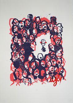"""""""Ugly"""" de Arnaud Lesport & Romain Decan Sérigraphie 3 couleurs sur papier  D'après le court métrage Ugly"""