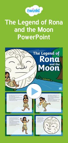 The graphics in the powerpoint are just lovely. Retells the story of Rona and the Moon. Retelling, Legends, Moon, Graphics, Comics, Space, The Moon, Floor Space, Graphic Design