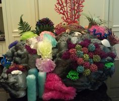 Coral reef for vbs Ocean Commotion made from spray foam insulation.