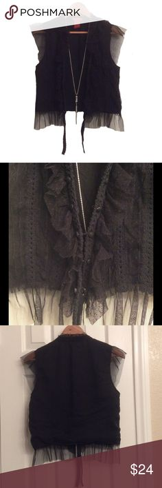Bohemian tulle n crochet vest Super cute, preloved, does not close, SIZE L tag,  21 inches long, 36 inches between arms, posting as M, by American Exchange Jackets & Coats Vests