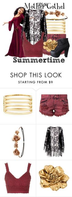 """Mother Gothel"" by tallybow ❤ liked on Polyvore featuring Kenneth Jay Lane, Bambam, Charlotte Russe, Pussycat, Topshop, Allison Daniel and Jeffrey Campbell"