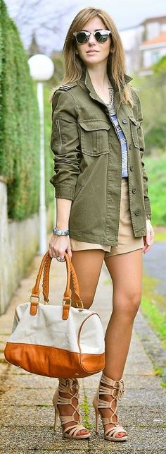 Army Green Jacket Outfit Idea