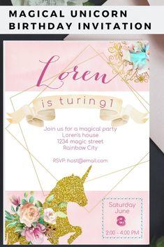 8141fa97886b Unicorn Birthday Invitation. Unicorn Invitation. Unicorn Birthday Party.  Unicorn Party. Magical Invitation