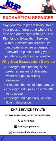 With our excavation services, you can create an entire underground network of pipes, turning your plumbing system into a pipeline. Just give us a call at Ken Hale Plumbing today and we'd be on the way in no time. Underground Drainage, Penrith, Just Giving, Pipes, Plumbing, Turning, Create, Pipes And Bongs, Wood Turning