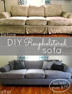 Tutorial: DIY couch reupholster with a canvas drop cloth. Turn an old, worn out couch brand new for less than $75!