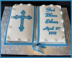 This cake was for a little boy's baptism Vanilla cake with vanilla buttercream filling, covered in fondant. Boy Communion Cake, First Holy Communion Cake, Baptism Sheet Cake, Baptism Cakes, Baby Baptism, Open Book Cakes, Christening Cookies, Buttercream Filling, Vanilla Buttercream