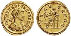 Numerian (283-284). Aureus, 4.92 g, 284. IMP NVMERIANVS P F AVG. Laureate and cuirassed bust r., with drapery on far shoulder. / SA – LV – S AVGG. Salus seated l., feeding serpent emerging from altar. C 86. RIC 404. Mazzini 86 (this coin). Calicó 4315 (these dies). Ex NFA XXII, 1989, 112 and Sotheby's Zurich 26 October 1993, 121 sales. Very rare. A bold portrait struck on a very broad flan, minor marks, otherwise virtually as struck and almost FDC. $83.736.