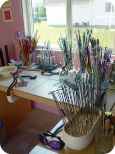 My lampwork studio set up.  Where Bloggers Create 2011 -- Pretty Things***Pretty Things